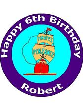 "7.5"" PIRATE SHIP BIRTHDAY PARTY CAKE TOPPER PERSONALISED ON EDIBLE RICE PAPER"