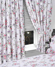 """FLORAL 66"""" x 72"""" READY MADE PENCIL PLEAT CURTAINS WHITE BLUE PINK ROSE FLOWERS"""