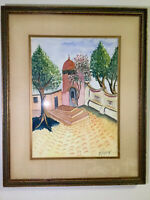 Beautiful Rare P Vazquez, Missionary Court Yard Watercolor Painting