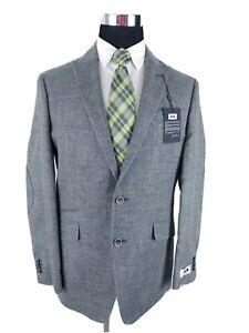 Joseph Abboud Sport Coat Blazer Unstructured Linen Wool Hopsack Jacket Mens 40L