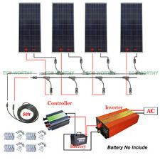 640W Solar System 4pcs 160W Solar Panel & Power Inverter & Controller for Camper