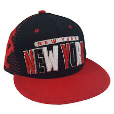 NEW YORK 3D EMBROIDERED FLAT BILL TWO TONE (BLACK/RED) COTTON SNAPBACK