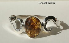Gorgeous Baltic Amber Bangle on Silver 925