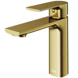 vigo davidson matte gold 1-handle single hole watersense bathroom faucet