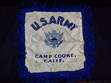 "US ARMY CAMP COOKE  USA WAR PILLOW COVER SILK FRINGE 18X18"" RARE ART HAND MADE"