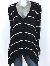 Hippie Rose Sweater V neck Button Asymmetrical Long Sleeve Stripe Black Size L