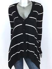 Hippie Rose Sweater V neck Button Asymmetrical Long Sleeve Stripe Black Junior L