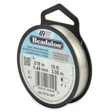 "Beadalon 925 Sterling Silver .018"" Bead Stringing Wire 49 Strand Flex Wire -10ft"