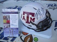 Trevor Knight signed Texas A&M Aggies white SPEED mini helmet JSA COA