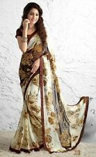 Stylist Multi Color Printed Chiffon Saree with a Blouse D.No S1212
