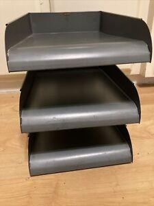 ANTIQUE ART DECO GLOBE WERNICKE STEEL TANK DESK IN / OUT BOX Flat File Box 3