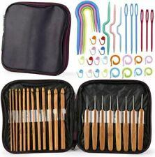 1 Set Bamboo Handle Crochet Hooks Knit Craft Knitting Needle DIY Weave Yarn Tool