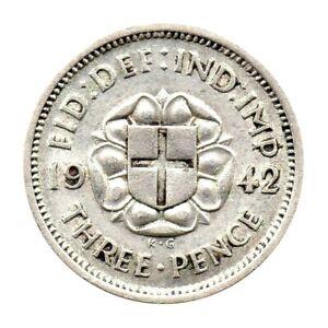 KM# 848 - Three Pence - Silver (.500) - George VI - Great Britain 1942 (EF)
