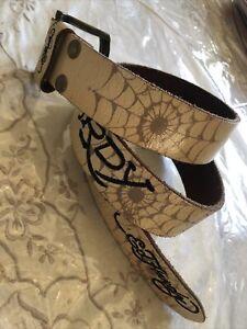 "Ed Hardy leather belt white cream leather  spider web skull bird wing 39.5"""
