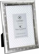 """CARRS - Sterling Silver Photo Frame Nina Campbell Hearts - 7"""" by 5"""""""