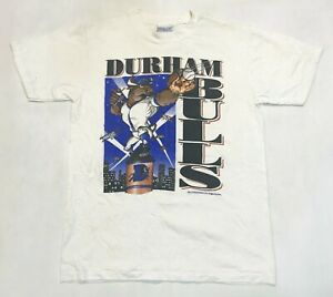 Vintage All Sport 1994 Durham Bulls Minor League Baseball T-Shirt White M USA