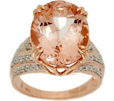 14K ROSE GOLD 7.00 CTS OVAL MORGANITE & DIAMOND BOLD RING SIZE 8 QVC $2,654.00