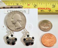 Miniature Fashion Jewelry Earrings Charms Best Friends design Silvertone