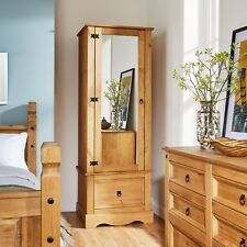 Corona Pine Armoire Wardrobe 1 Door Mirrored 1 Storage Drawer Solid Wood