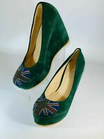 SNZ Women's Shoes Wedge Embellished Union Jack Green Faux Suede Size 3 Uk