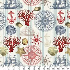 David Textiles Sewing Fabric Nautical Navigation 1 Yd X 44 Inches Cotton Linen