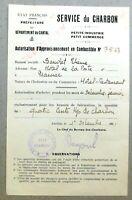 GUERRE 1939-1945. Autorisation d'approvisionnement en combustible. 1941