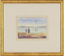 Framed Contemporary Watercolour - Children at the Seaside