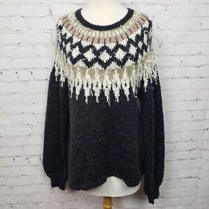 Cynthia Rowley Nordic Fair Isle Fringe Eyelash Pullover Sweater Gray Tan Size L