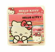 Sanrio HELLO KITTY 2pc Mouse & STAY IN PLACE Pad Set PINK+STRIPES+BOW New!