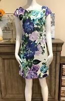Eliza J White Floral Multicolor Cap Sleeve Sheath Dress Knee Length Women Sz 2