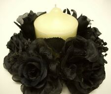 """3 BLACK Rose Candle Rings Center Pieces Artificial Silk Flower 3"""" 4005BK"""