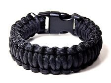 Premium 550 Military Paracord Survival Bracelet Black  5/8 Plastic Buckle USA