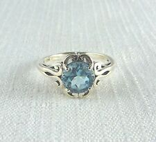 2.41ct Blue Topaz Sterling Silver Filigree Victorian Style Ring US(9) AU (R 3/4)