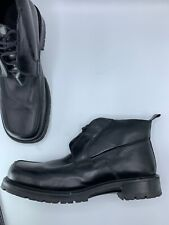 Vintage BACCO BUCCI Lace-up Ankle13 Boots Black Soft Leather ITALY Square Toe