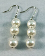 "Handmade Beautiful Stylish Earrings - White Pearl Beads 1.18"" Hook Alloy"