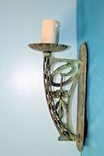 Wall Light. Single Metal Antique Style Light With Candle Drip & Verdigris Finish