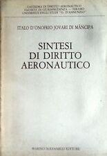 ITALO D'ONOFRIO JOVARI DI MÀNCIPA SINTESI DI DIRITTO AERONAUTICO SOLFANELLI 1988