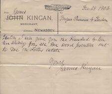 1903 New Abbey, Kirkudbright, John & James Kingan, Merchant, Memo / Re Lotus Est