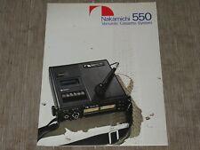 Nakamichi 550 Stereo Cassette Tape deck Specs Original Catalogue