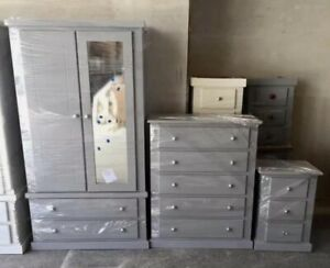 HANDMADE DEWSBURY GREY 3 PIECE BEDROOM SET MIRRORED WARDROBE ASSEMBLED NEW
