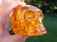 Amber Crystal Skull  Crystal Gemstone 95mm x 68mm x 68mm