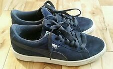 Puma Mens Blue White Suede Classic Laced Trainers Sneakers Size 4 UK 37 EU US 5