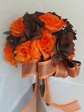 15 Bouquets set  Fall wedding bridal bridesmaid bouquet orange brown Quinceanera