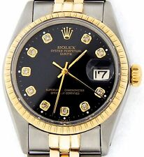 Mens Rolex Date 14K Yellow Gold Stainless Steel Watch Jubilee Black Diamond 1505