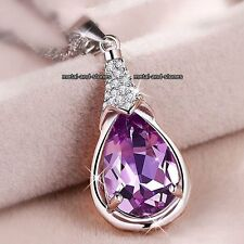XMAS DEAL Purple Amethyst Crystal Necklace Gifts For Her Women Pendant Jewellery