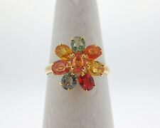 Multi Color 2.50cts Natural Sapphire Solid 14k Yellow Gold Flower Ring FREE Size