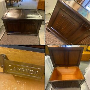 Vintage Wooden Blanket Box Chest Coffer Small Table Rustic Country Storage