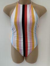 Forever 21 Multi Stripe High Neck Swimsuit UK 18 - 20