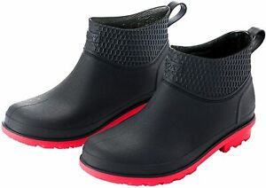 Mens Rain Ankle Boots Pull on Waterproof Rubber Non-Slip Flats Fishing Shoes