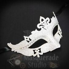 Womens Mardi Gras Festival Venetian Masquerade Mask with Rhinestones [White]